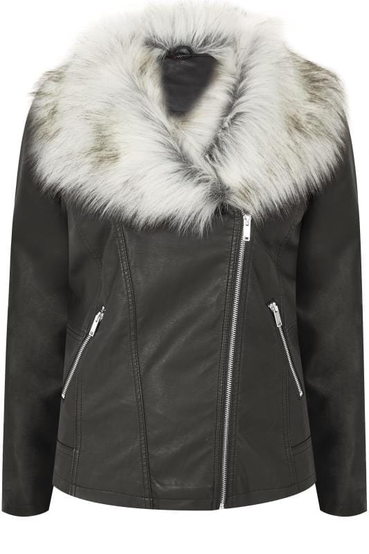 Plus Size Leather Look Jackets Black PU Leather Look Biker Jacket With Faux Fur Collar