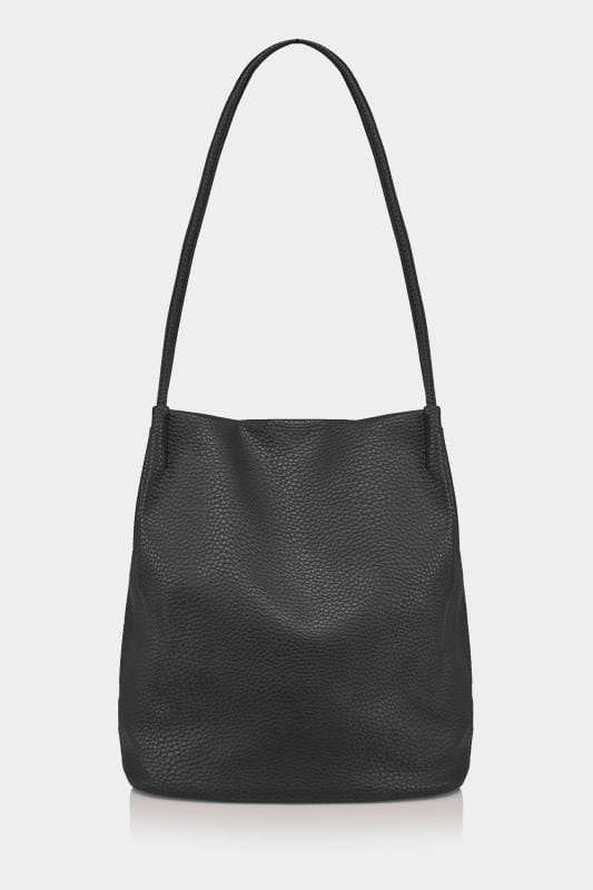 Black PU Leather Bucket Bag