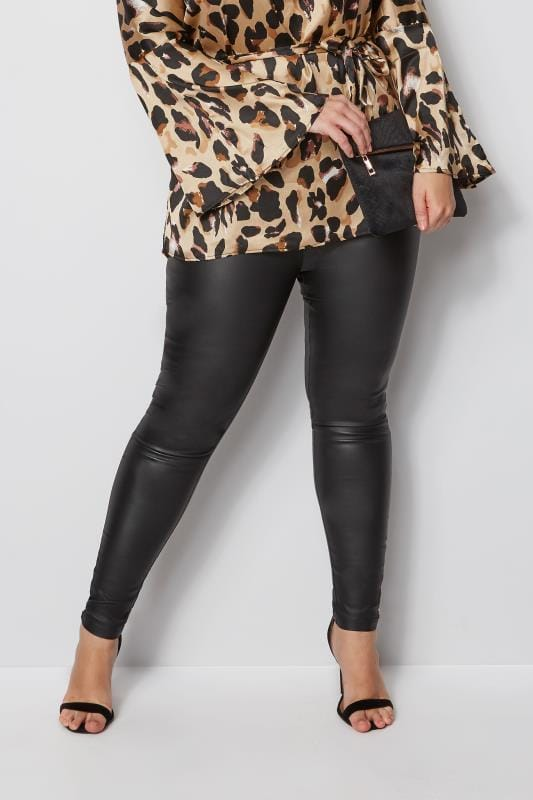 moderne leggings Zwarte legging in leerlook