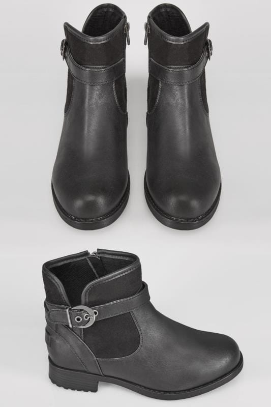 Black PU Micro Ankle Boots With Buckle Detail In EEE Fit