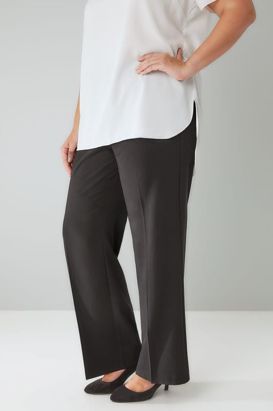 Plus Size Straight Leg Trousers Black Classic Straight Leg Trousers With Elasticated Waistband - PETITE