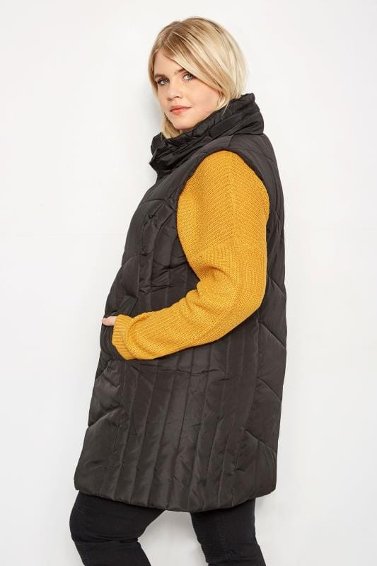 Black Padded Chevron Gilet With Foldaway Hood