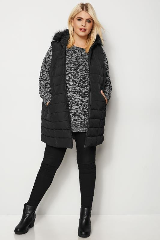 Plus Size Gilets Black Padded Gilet With Faux Fur Trim Hood