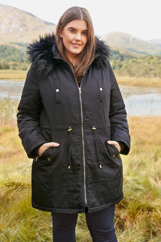 Plus Size Coats Black Padded Parka Coat