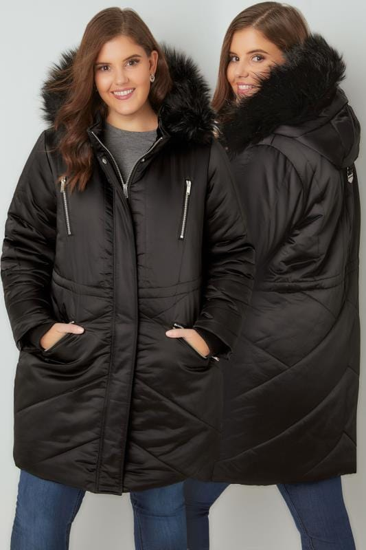 Plus Size Parka Coats Black Padded Parka Jacket With Faux Fur Hood