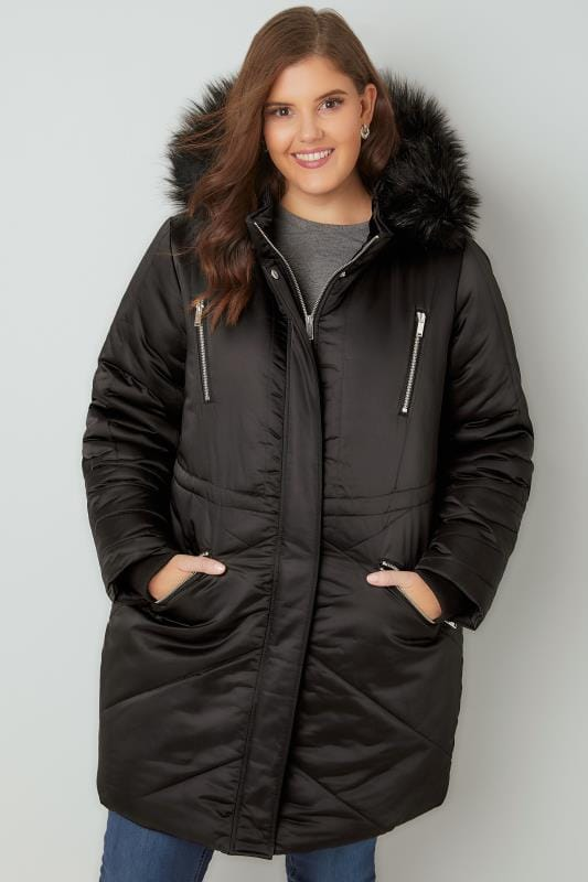 Black Padded Parka Jacket With Faux Fur Hood, Plus size 16 to 36