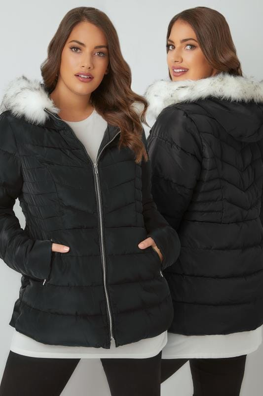 Puffer & Quilted Jackets Black Padded Puffer Coat With Hood & Faux Fur Trim 120023