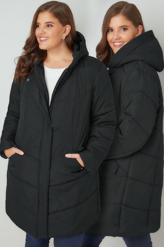 Plus Size Puffer & Quilted Jackets Black Padded Puffer Jacket With Hood