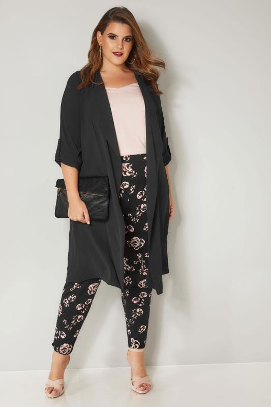 Black & Pale Pink Floral Print Jersey Harem Trousers