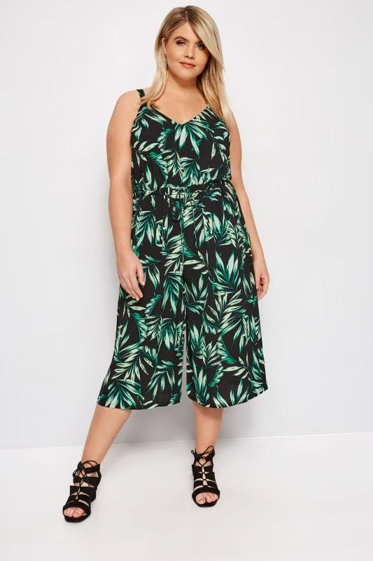 Plus Size Jumpsuits Black Palm Leaf Culotte Jumpsuit