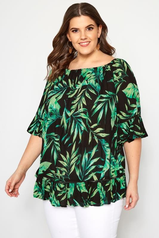 10a3ed50a062 Plus Size Day Tops Black Palm Leaf Gypsy Bardot Top