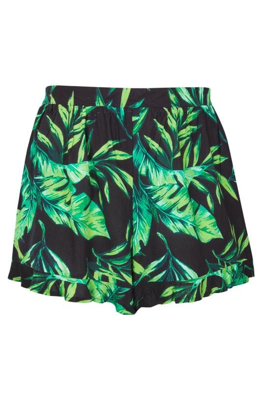 Plus Size Kaftans & Cover Ups Black Palm Leaf Shorts