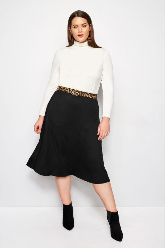 Plus Size Midi Skirts Black Panel Midi Skirt