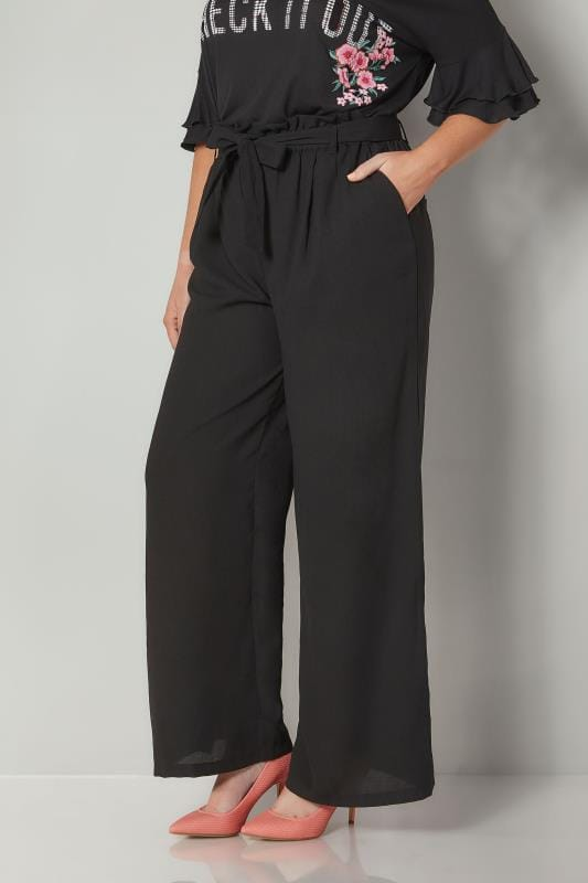 Black Paperbag Wide Leg Trousers With Waist Tie