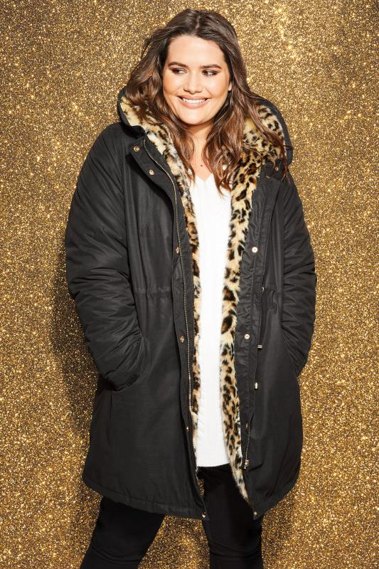 4cd24299edf4c Plus Size Coats Black Parka Coat With Animal Print Faux Fur · Basket Buy