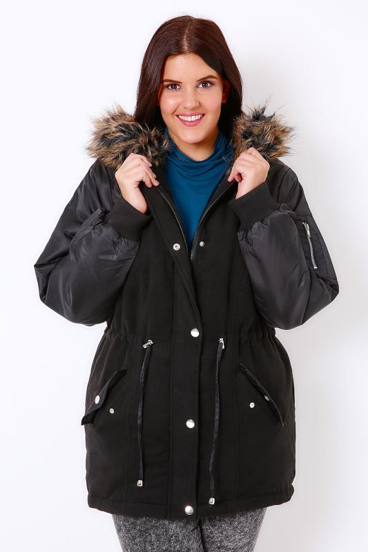 Black Parka With Bomber Style Sleeves & Faux Fur Hood