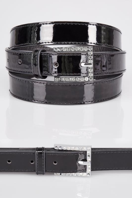Belts Black Patent Belt With Diamante Details 152316