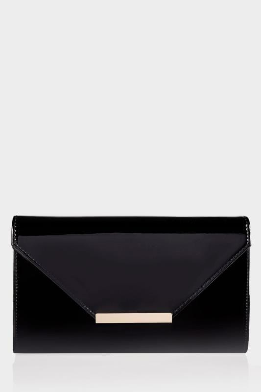 Bags & Purses Black Patent Clutch Bag With Chain Shoulder Strap