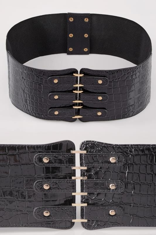 Plus Size Belts Black Patent Croc Effect Stretch Belt