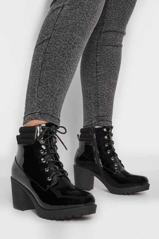 Wide Fit Boots Black Patent Lace Up Heeled Ankle Boot In EEE Fit