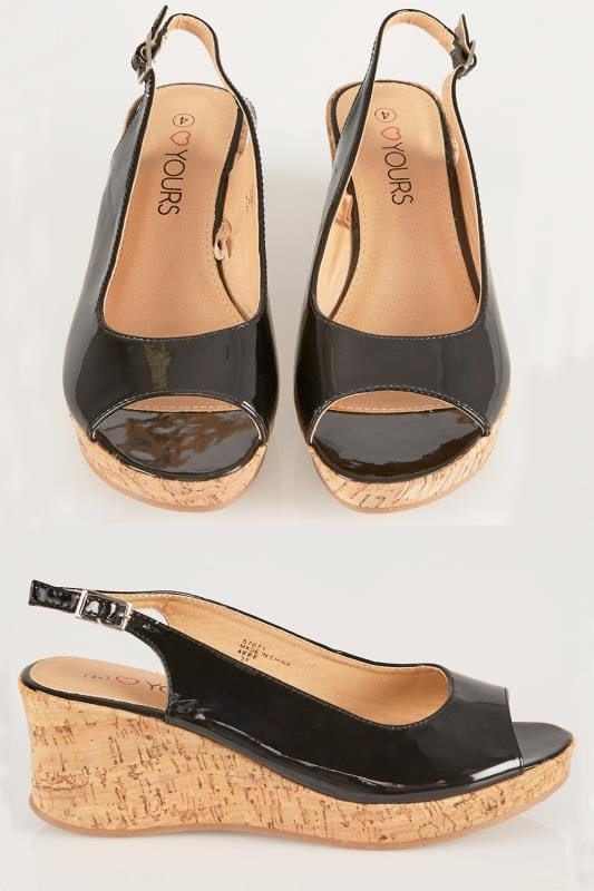 Wide Fit Sandals Black Patent Peep Toe Cork Wedge Sandal In EEE Fit