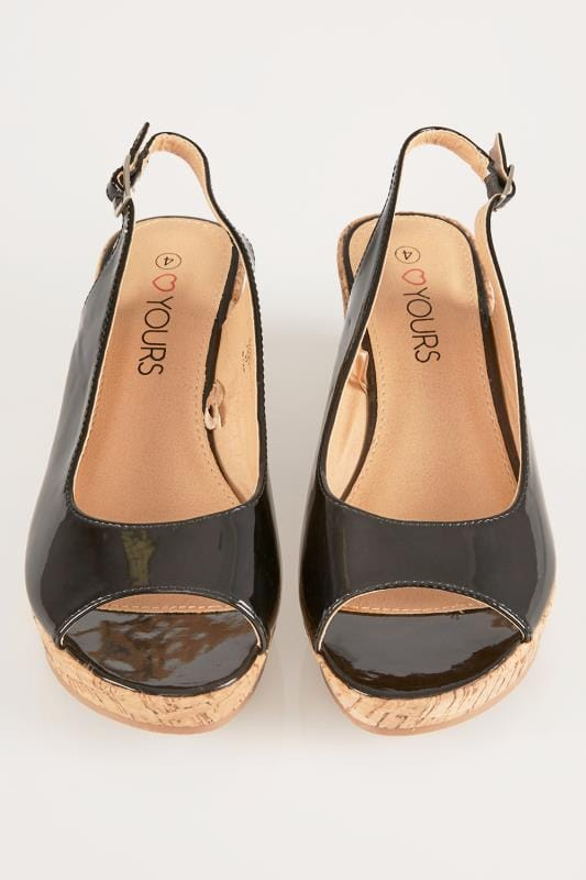 Black Patent Slingback Wedges In EEE Fit