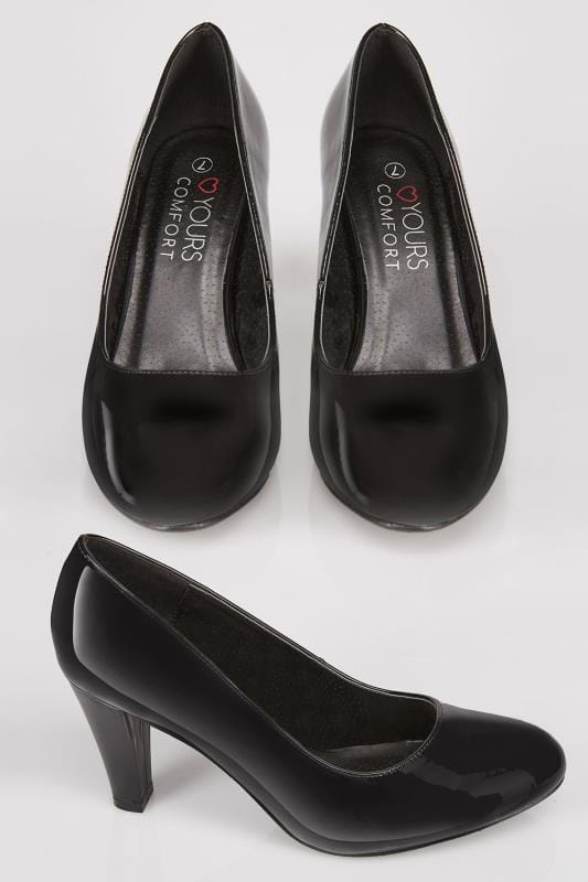 Wide Fit Court Shoes Black Patent Slip On Court Shoes With Comfort Insole In TRUE EEE Fit 154059