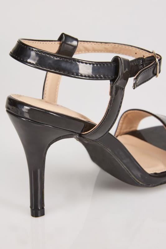 Black Patent Square Toe Heeled Sandals With Ankle Strap In EEE Fit