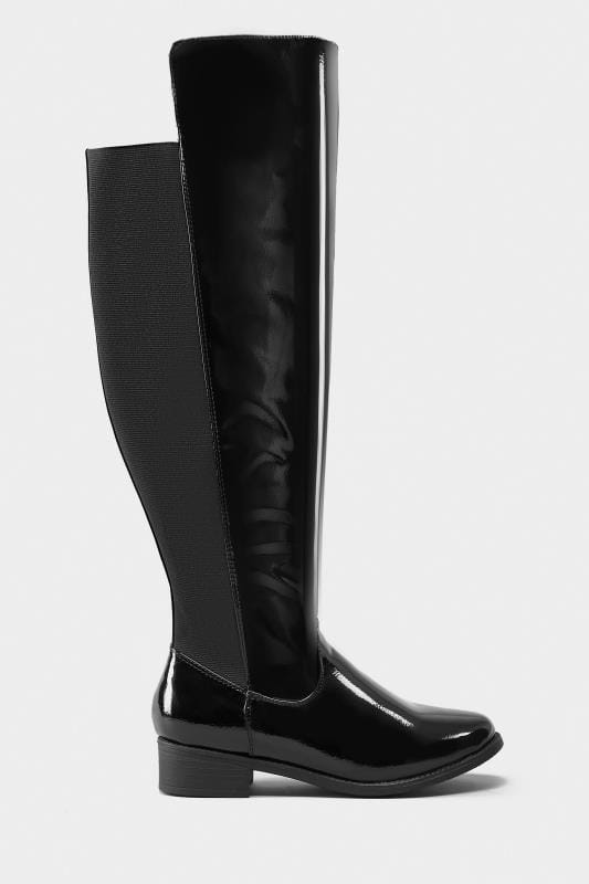 Black Patent Stretch Over The Knee Rider Boots In EEE Fit