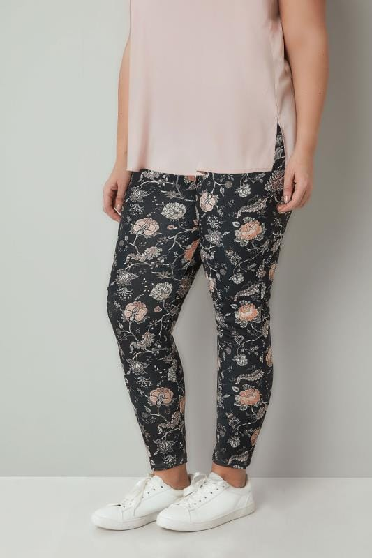 Plus Size Tapered & Slim Fit Trousers Black & Peach Floral Print Slim Trousers
