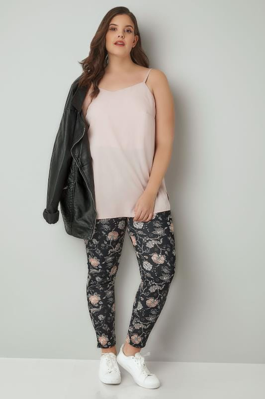 Black & Peach Floral Print Slim Trousers