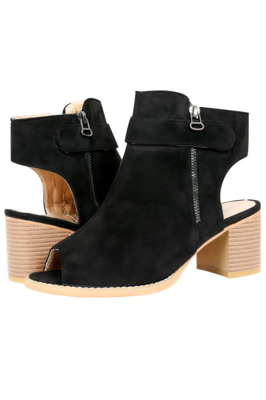 Black Peep Toe Shoe Boot With Block Heel In EEE Fit