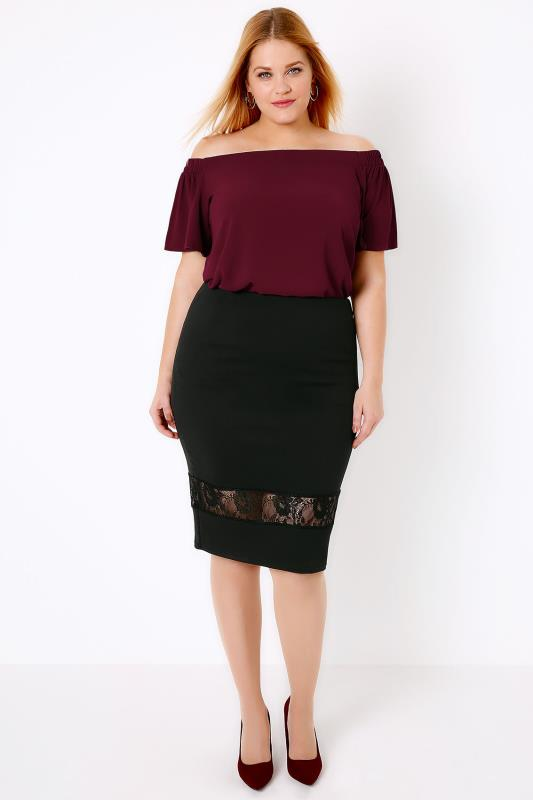 Black Pencil Skirt With Lace Cut Out Panel, Plus Size 16 to 32