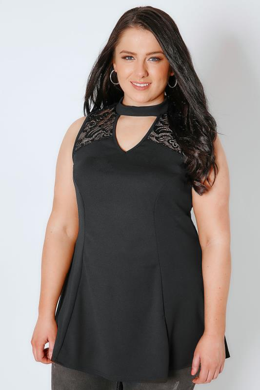 Black Peplum Choker Top With Lace Panel