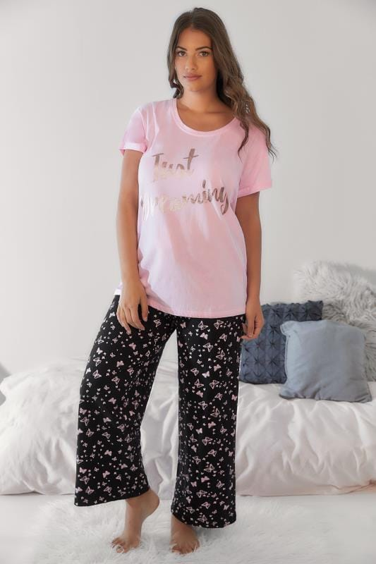Black & Pink All Over Butterfly Print Pyjama Trousers