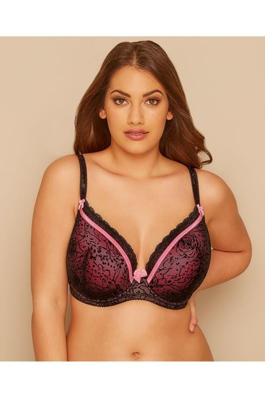 Plus Size Wired Bras Black & Pink Animal Rose Print Underwired Moulded Bra