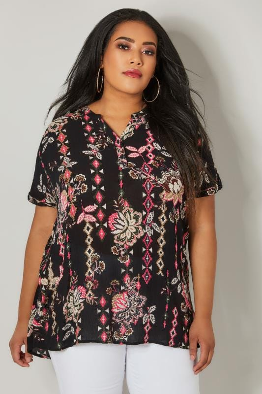 Plus Size Blouses Black & Pink Aztec Print Blouse With Grown On Sleeves