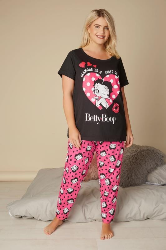 Black & Pink Betty Boop Top & Bottoms Pyjama Set