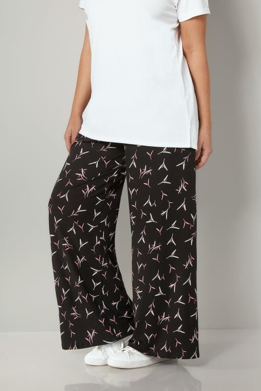 Plus Size Wide Leg & Palazzo Trousers Black & Pink Blossom Print Wide Leg Trousers
