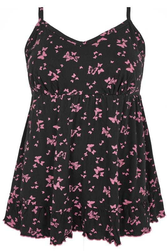 Black & Pink Butterfly Longline Pyjama Top With Frilled Hem