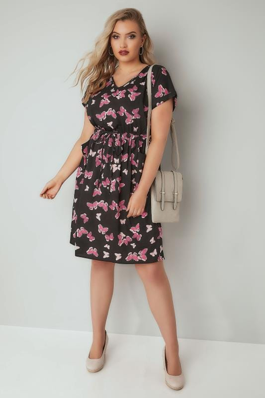 Black & Pink Butterfly Print T-Shirt Dress With Pockets & Elasticated Waistband