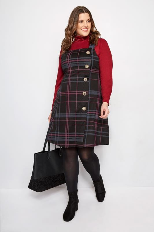 Plus Size Pinafore Dresses LIMITED COLLECTION Black & Pink Check Button Pinafore Dress