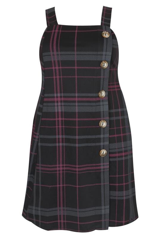 Plus Size Black Pink Check Button Pinafore Dress Sizes 16 To 40