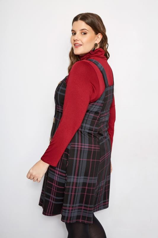 LIMITED COLLECTION Black & Pink Check Button Pinafore Dress