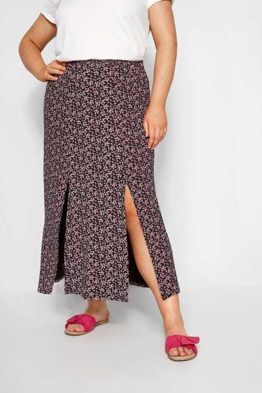 Plus Size Maxi Skirts Black & Pink Ditsy Floral Maxi Skirt