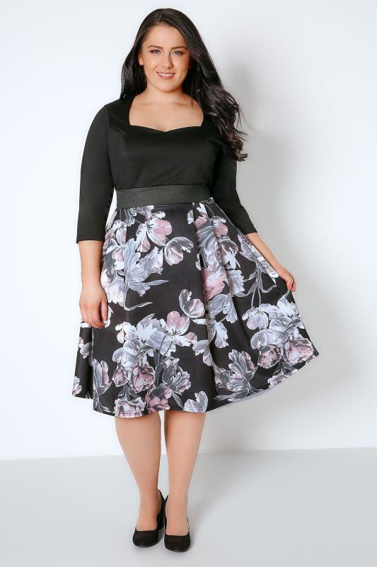 Black & Pink Floral 2 In 1 Midi Dress With 3/4 Sleeves
