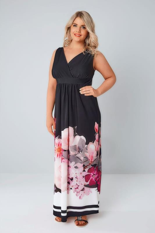 Black & Pink Floral Border Print Slinky Jersey Maxi Dress