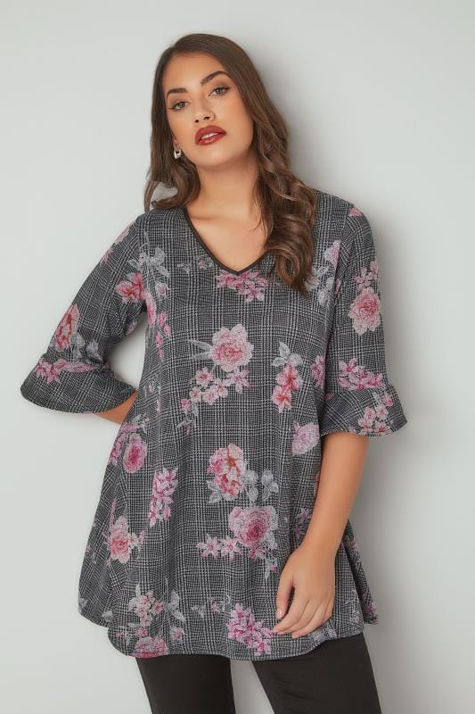 Plus Size Longline Tops Black & Pink Floral Check Print Longline Swing Top With Flute Sleeves