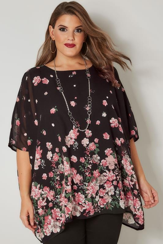 Plus Size Blouses Black & Pink Floral Chiffon Cape Top With Free Necklace