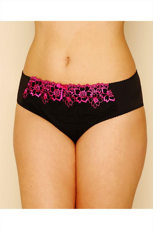 Black & Pink Floral Embroidered Briefs